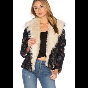 Free People Jacquard Wool Faux Fur Jacket Coat